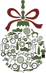 Vector illustration of Christmas ornament with bikes and bike parts icons. Global colors allow changing the colors easily.