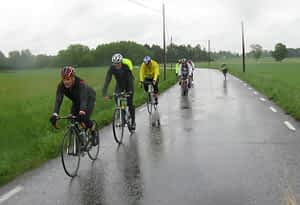Group cycling in the rain